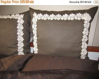clearance sale Brown linen euro sham pillows 26 x 26 inch  daisy floral cotton bobbin lace trimmed - set of 2 pcs - euro sham shabby chic be