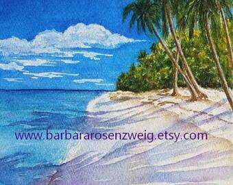 Palm Beach Painting, Beach Art Print, Coastal Art, Beach Home Decor, Beach Paradise, Beach Wall Art, Beach Watercolor, Nautical Wall Art