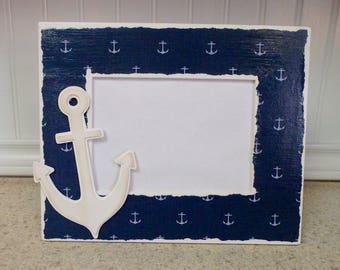 Decoupage Coastal Nautical Beach Picture Frame with Anchor