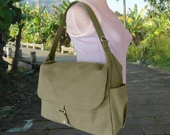 On Sale 20% off womens shoulder bag, olive canvas messenger bag, travel bag for women