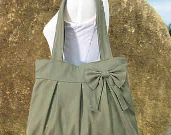 On Sale 20% off Olive green womens tote bag / cavas purse for women / fabric diaper bag / bow purse / handbag / hobo
