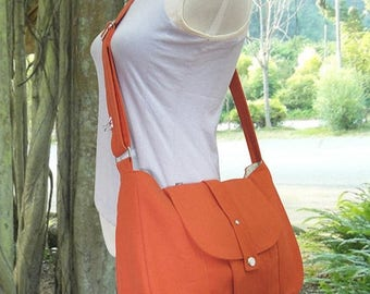 On Sale 20% off orange cotton canvas purse / shoulder bag / messenger bag / everyday bag / diaper bag / cross body bag - 6 pockets