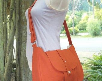 On Sale 20% off orange cotton canvas purse / shoulder bag / messenger bag / everyday bag / diaper bag / cross body bag - 6 pockets