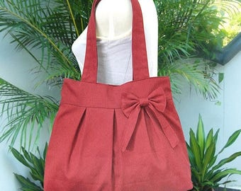 On Sale 20% off Red canvas travel bag / tote bag / shoulder bag /diaper bag / bow canvas purse / zipper closure