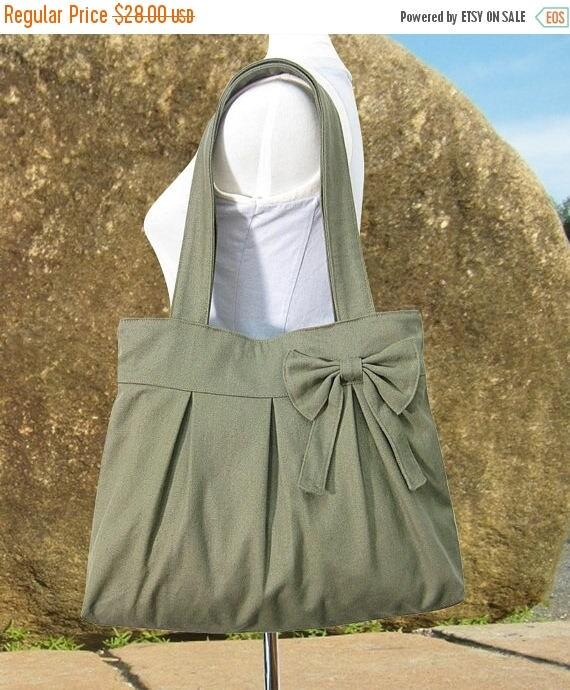 On Sale 20% off Olive green womens tote bag / cavas purse for women / fabric diaper bag / bow purse / handbag / hobo