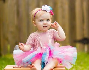 Cotton Candy Baby Tutu and Flower Headband - Baby Tutu - Tutu - Pink and Blue Pastel Tutu - Smash Cake Tutu - Birthday Tutu - Toddler Tutu