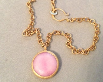 SUMMER Sale Baby pink jade gold plated necklace