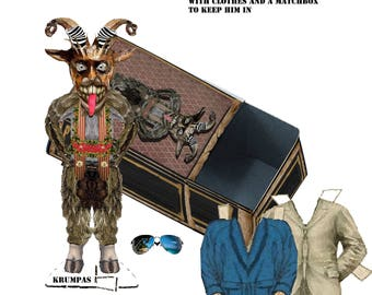 Christmas paper doll Krampus and matchbox storage for wardrobe, DIY project collage sheets christmas stocking stuffer