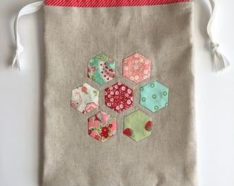 Drawstring bag - hand appliqued - hexagon applique