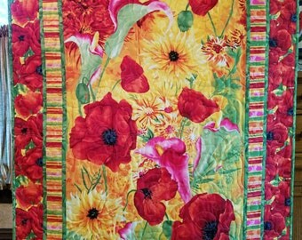 Bright Floral Quilted Wall Hanging or Throw