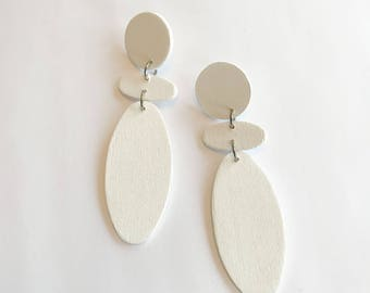White Wooden Earrings