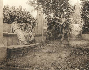 The Loving Tree by Tito Lessi, Antique Italian 10x12 Sepia Engraving c1890s, From The Decameron by Giovanni Boccaccio, FREE SHIPPING