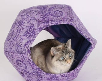Summer Sale Purple paisley cat cave with two openings - the hexagonal Cat Ball kitty bed is a modern pet bed design