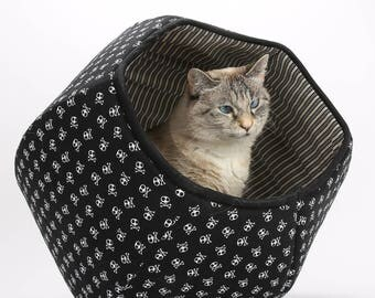 Modern Style Cat Bed in Skull and Crossbones fabric - The Cat Ball cat bed for your hardcore cat