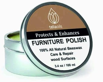 100% Pure Beeswax Natural Wax Wood & Furniture Polish Neutral Cream  - nourishing, renewing, sealing, covering scratches, protecting 3.4 oz