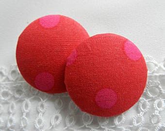 Red fabric fuchsia polka dots, 32 mm in diameter and up