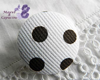 Button white fabric with dots brown, 32 mm / 1.25 in diameter