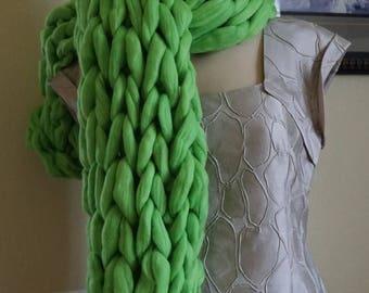 Christmas in July Sale Oversized Scarf Wool scarf, Big Yarn Wrap, Green scarf, Chunky  Scarf, Gift Idea, Warm Winter Scarf