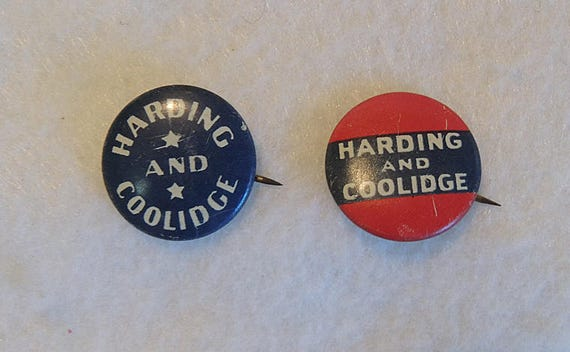 2 Vintage President Political Pin Back Buttons.. HARDING AND COLLIDGE