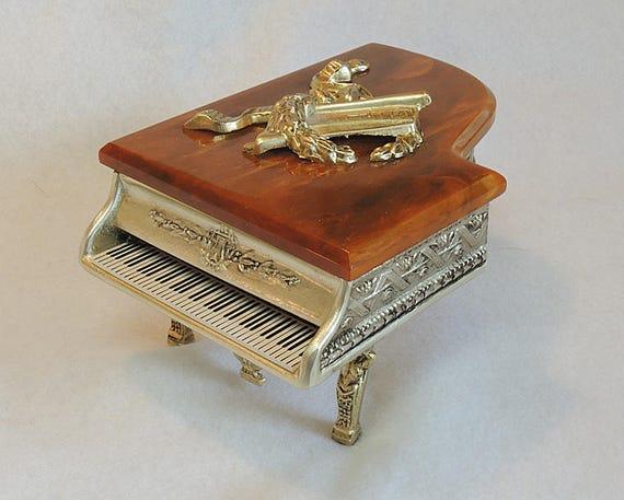 Vintage Swiss Thorens Cast Metal & Bakelite Grand Piano Music Jewelry/ Trinket Box Love Story