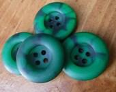 """9 Dark Green 2 Tone Round Buttons Size 15/16"""""""