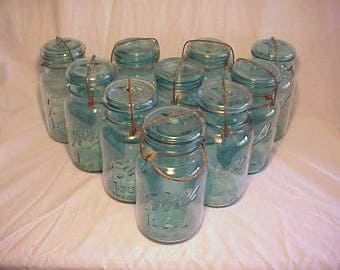 Group of Ten c1920s Ball Ideal, Ball Blue Quart Canning Fruit Jars , Great for Wedding Decor or Country Pimitive Decor No. 2