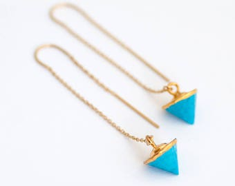 Turquoise 14k Gold Threader Earrings, Gemstone Spike Earrings, Ear Threaders, Minimalist Jewelry, Boho Earrings, Long Gold Dangle Earring
