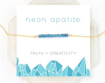 Neon Blue Apatite Bar, Festival Jewelry, Summer Necklace, Inspirational Jewelry, Modern Layering Necklace, Birthday Gifts, Dainty Gem Bar