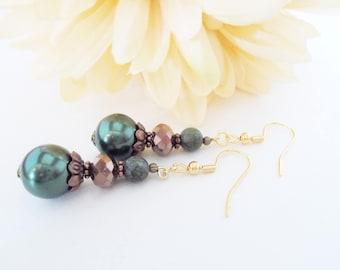 Green Copper Earrings, Beaded Earrings, Autumn Earrings, Fall Wedding Jewelry, Bridesmaid Gift for Her, Pearl Drop Earring, Stocking Stuffer