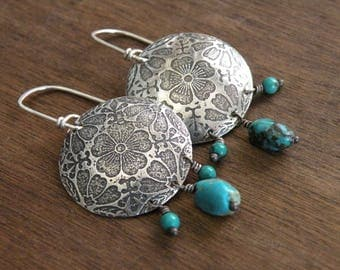 Sterling and Turquoise earrings - Fusen Sakura
