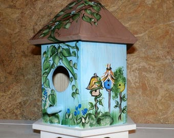 Hand Painted Bird House - Indoor Decorative Painted Birdhouse - Ready To Ship