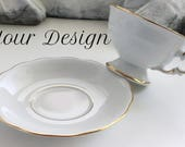 Gold Custom Teacup and Saucer Set, Personalized Teacup, Bespoke Wedding Cup, Customized China, Your Design