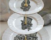 3-Tiered Skeleton Wedding Cake Stand, Skull Couple Wedding Cake Stand, Foodsafe & Durable, Skull Cake Stand, Sugar Skull Cake Stand, Cupcake