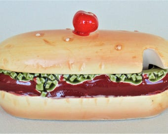 Enesco Ceramic Hot Dog Condiment Relish Container With Slot For Spoon EXCELLENT CONDITION