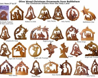 12 OliveWood Christmas Ornaments From Bethlehem ~ Christmas Story From Holy Land