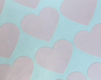 GLAM SALE Large Blush Pink Heart Stickers, Party Favor Stickers, Wedding Favor Stickers (30)