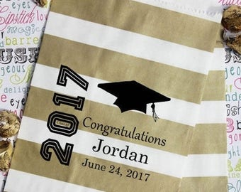 GLAM SALE 25 Personalized Graduation Party Favor Bags, Candy Bags, Popcorn Bags, Cookie Bags, Graduation Favor Bags with Name and Date