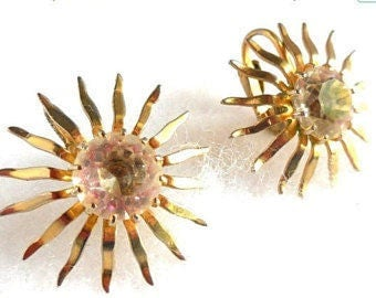 Sarah COVENTRY Earrings Fascination Vintage Gold and Rhinestone Earrings Modern