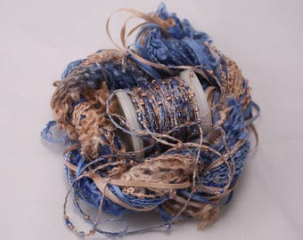 cobalt blue and copper tan beaded yarn Silk Embroidery thread seed beads sequin thread silk ribbon Hand dyed  Embellishments