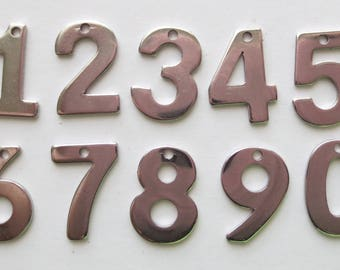 Stainless Steel Number Charms - 11mm - CHOICE OF NUMBERS