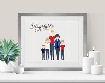 Custom Family Illustration Portrait, 8x10, Digital JPG File, Family Illustration, Personalized Portrait, Family Gift, Anniversary Gift, Gift