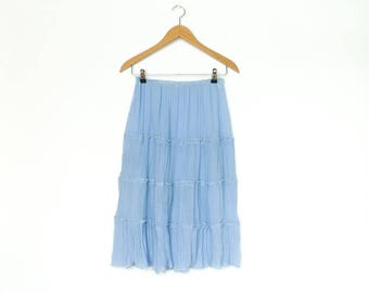 Vintage Sheer Skirt / Pastel Blue Light / Summer Festival Boho Hippie / Midi Length / small medium