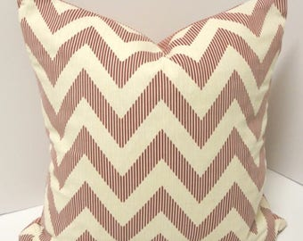 Red Chevron Pillow 20 x 20 Throw Pillow Home Decor Reversible Pillow Red  READY TO SHIP*Sale*