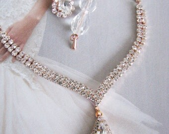 2 piece Rose Gold Wedding Necklace Backdrop Necklace Bridal Necklace Bridal Jewelry Wedding Necklace - bridal set- Backdrop Bridal Necklace