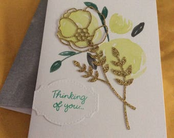 Thinking of you greetings card handmade greeting card yellow and green card with gold sparkles rose and leave overlay with matching envelope