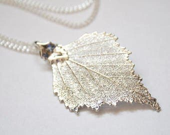 Real Birch leaf silver necklace pendant with silver chain