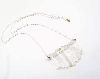 Quartz Dagger Necklace - Statement Piece, Clear Quartz, Silver