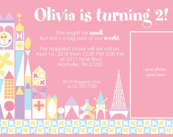 it's a small world birthday pink, purple and light blue color scheme party invitation with photo place