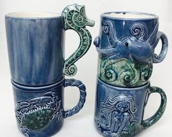 Set of 4 mugs, Coffee Mug, Handmade Pottery & Ceramic, Handmade from my Charleston, SC Studio