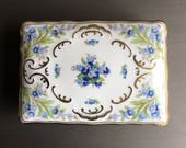RESERVED!  Schumann Forget Me Not Cigarette Box / Trinket or Jewelry Container / Bavaria Germany - #F1166